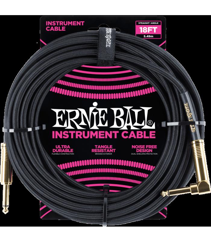 ERNIE BALL - CABLES INSTRUMENT GAINE TISSéE JACK/JACK COUDé 5,5M NOIR