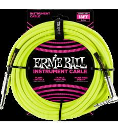 ERNIE BALL - CABLES INSTRUMENT GAINE TISSéE JACK/JACK COUDé 5,5M JAUNE