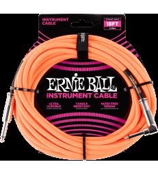 ERNIE BALL - CABLES INSTRUMENT GAINE TISSéE JACK/JACK COUDé 5,5M ORANGE