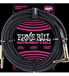 ERNIE BALL - CABLES INSTRUMENT GAINE TISSéE JACK/JACK COUDé 3M NOIR