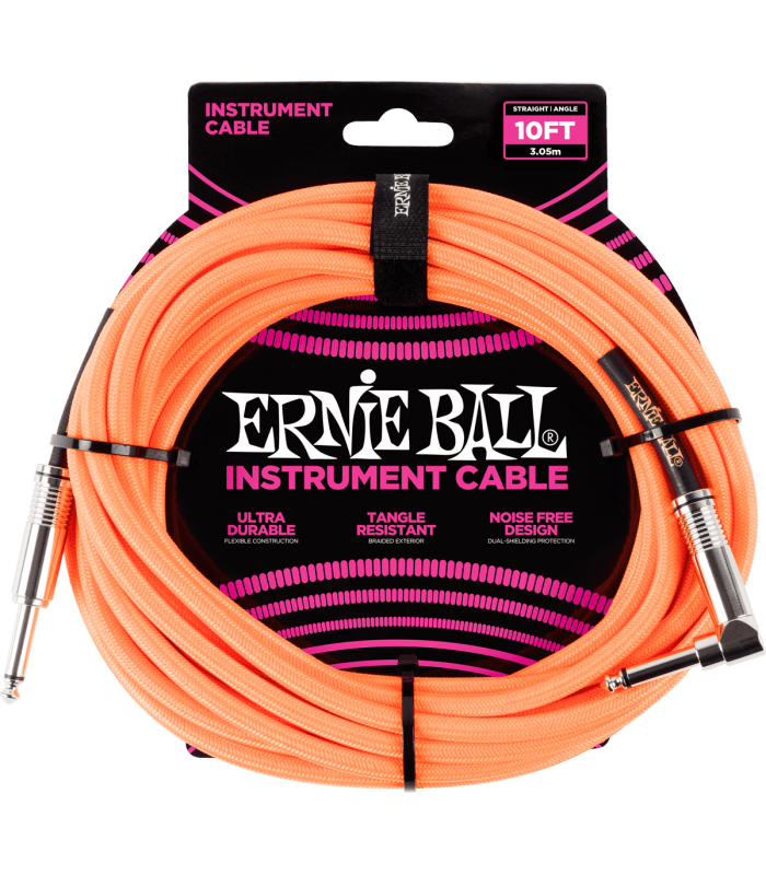 ERNIE BALL - CABLES INSTRUMENT GAINE TISSéE JACK/JACK COUDé 3M ORANGE