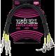 ERNIE BALL - CABLES INSTRUMENT PATCH PACK DE 3 - DROIT/COUDé - 46CM NOIR