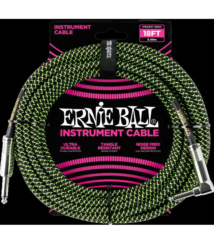 ERNIE BALL - CABLE INSTRUMENT GAINE TISSéE JACK/JACK COUDé 5,5M NOIR/VERT