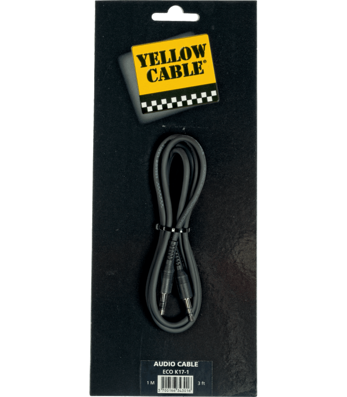 YELLOW CABLE - CORDON JACK MALE STEREO 3.5 / JACK MALE STEREO 3.5  1M
