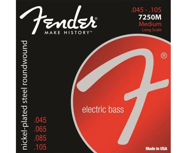 FENDER - 7250 Bass Strings Nickel Plated Steel Long Scale 7250M .045-.105 Gauges (4)