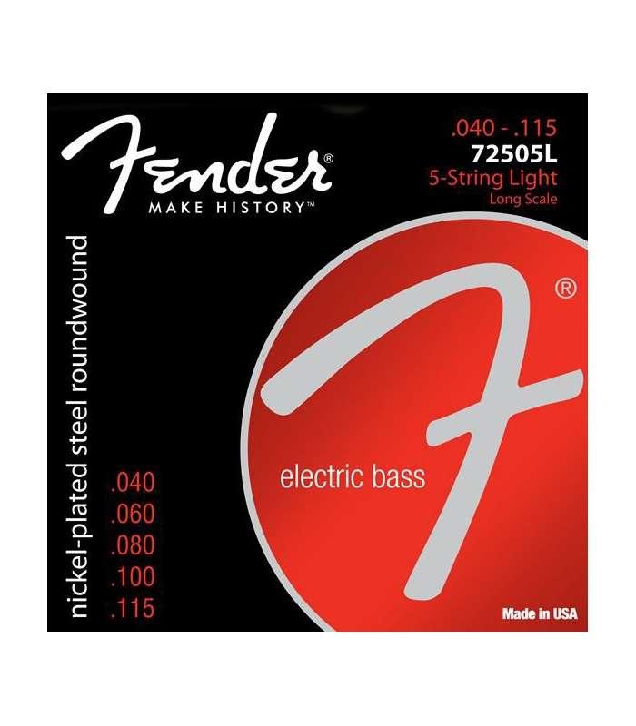 FENDER - 7250 Bass Strings Nickel Plated Steel Long Scale 7250-5L .040-.115 Gauges (5)