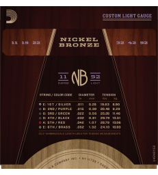 D'ADDARIO NICKEL BRONZE NB1152 CUSTOM LIGHT, 11-52