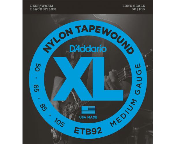 D'ADDARIO – ETB92 JEU BASS NYLON NOIR 50-105 LONG SCALE ETB92