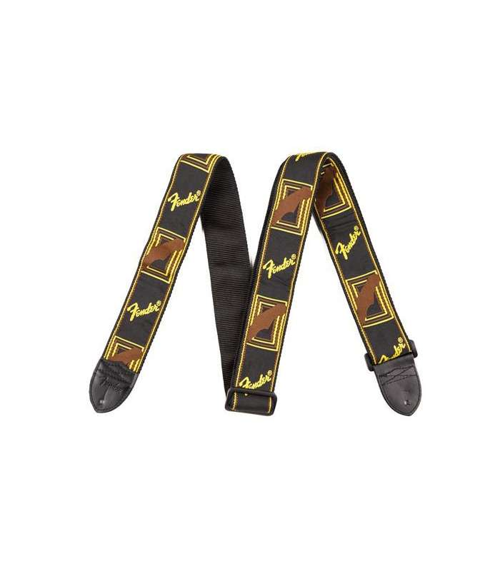 FENDER - COURROIE MONOGRAMME BLACK/YELLOW STRAPS