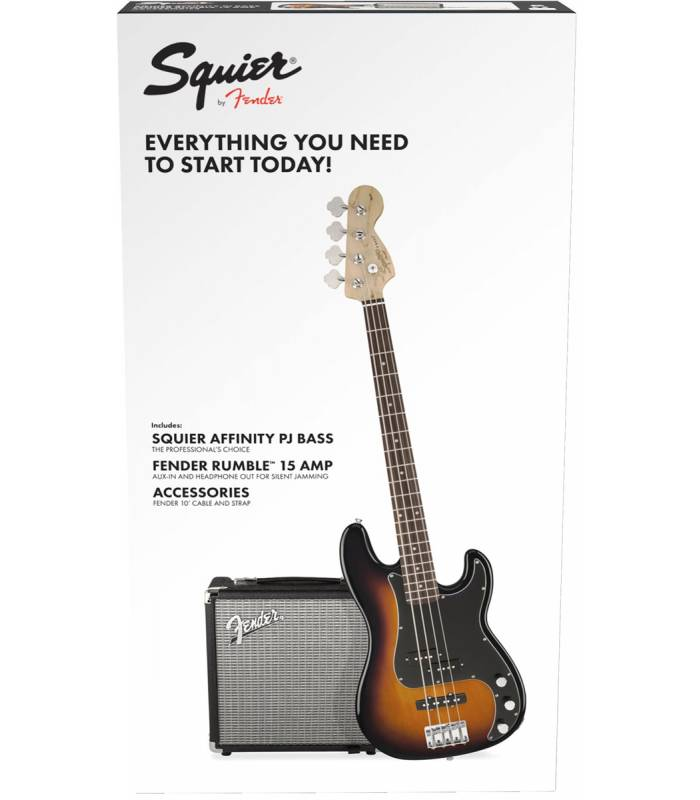 SQUIER - Stop Dreaming Start Playing! Set: Affinity Series Jazz Bass® with Fender® Rumble 15 Amp Black 230V EU