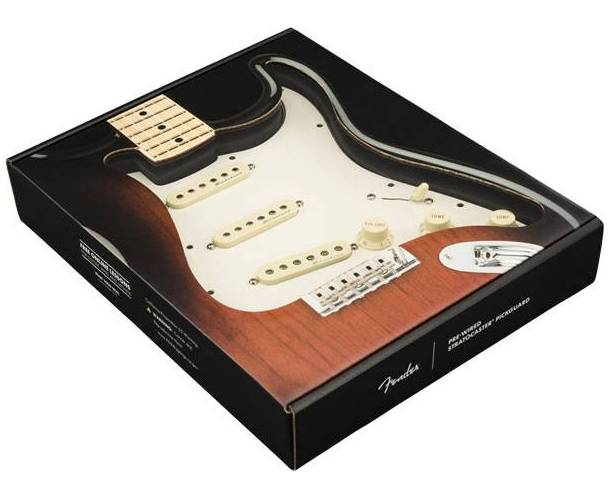 FENDER PRE-WIRED STRAT PICKGUARD, HOT NOISELESS SSS PARCHMENT