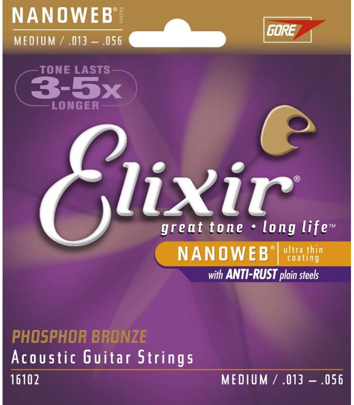 ELIXIR - NANOWEB MEDIUM 13-56 PHOSPHOR BRONZE