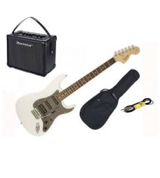 HURRICANE MUSIC PACK GUITARE FENDER SQUIER AFFINITY HSS OLYMPIC WHITE