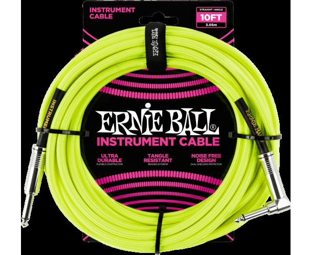 ERNIE BALL - CABLES INSTRUMENT GAINE TISSéE JACK/JACK COUDé 3M JAUNE FLUO
