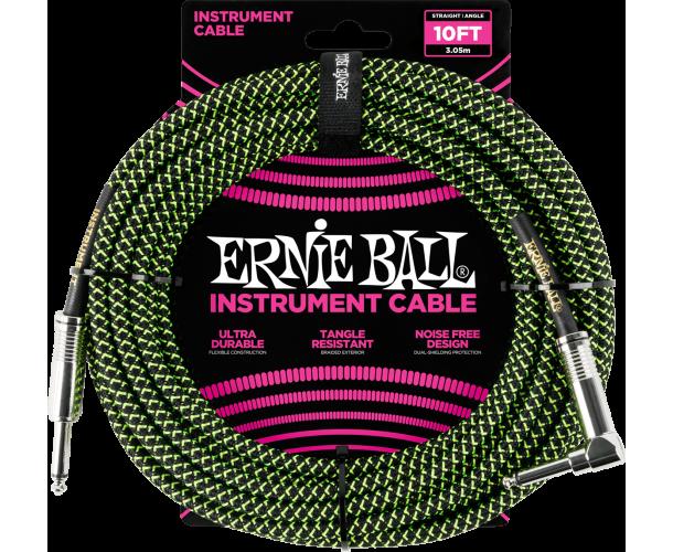 ERNIE BALL - CABLES INSTRUMENT GAINE TISSéE JACK/JACK COUDé 3M NOIR/VERT