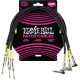 ERNIE BALL - CABLES INSTRUMENT PATCH PACK DE 3 - DROIT/COUDé - 46CM NOIR