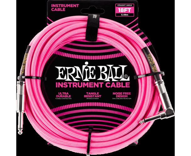 ERNIE BALL - CABLES INSTRUMENT GAINE TISSéE JACK/JACK COUDé 5,5M ROSE