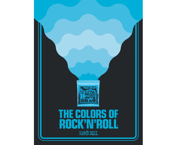 ERNIE BALL - POSTER COLORS OF ROCK'N ROLL EXTRA SLINKY