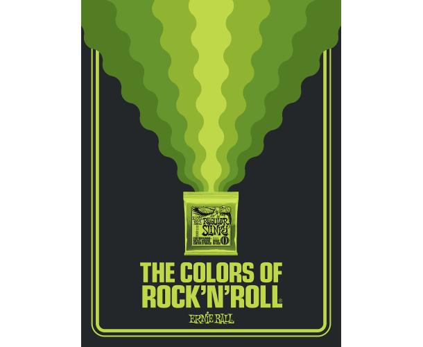 ERNIE BALL - POSTER COLORS OF ROCK'N ROLL REGULAR SLINKY