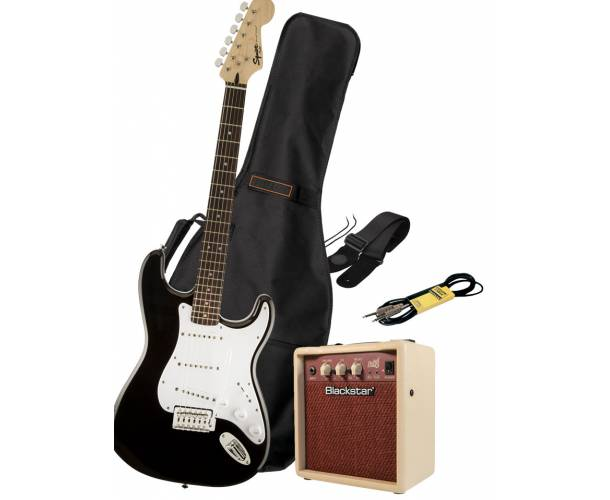 HURRICANE MUSIC PACK ELECTRIQUE SQUIER BULLET BLACK