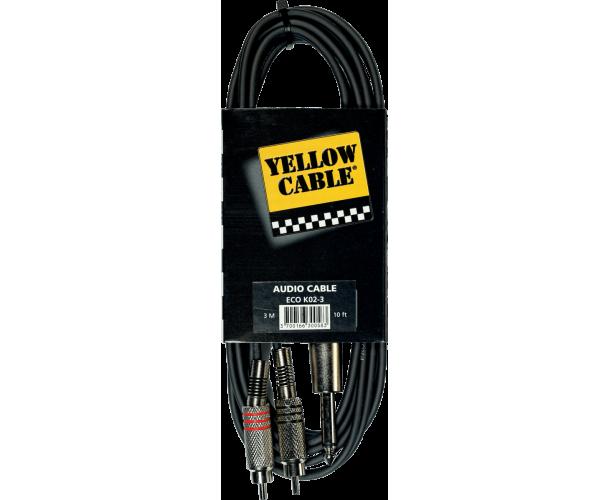 YELLOW CABLE - K02-3 CORDON 2X RCA MALE/JACK MONO MALE 3M