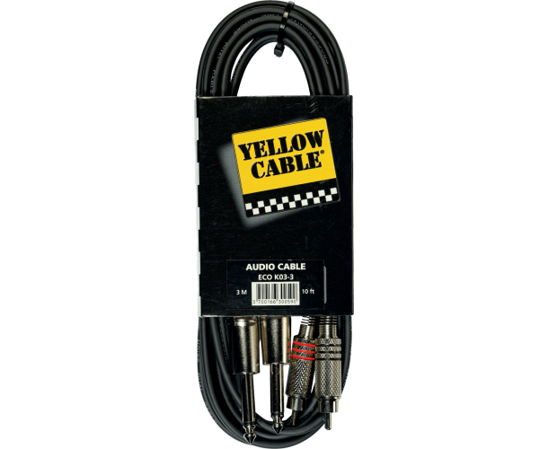 YELLOW CABLE - K03-3 CORDON 2X RCA MALE/2X JACK MALE 3M