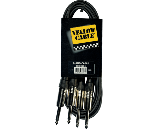 YELLOW CABLE - K08-3 CORDON 2X JACK MALE MONO / 2X JACK MALE MONO 3M