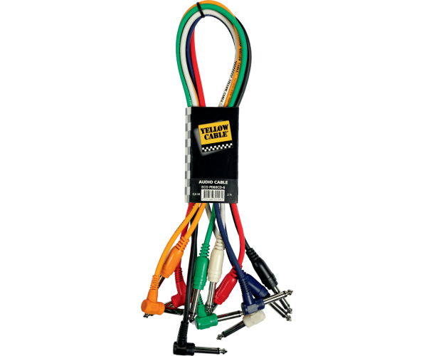 YELLOW CABLE - P060CD-6 RACCORDS JACK / JACK 60 CM COUDES/DROIT (PAR 6)
