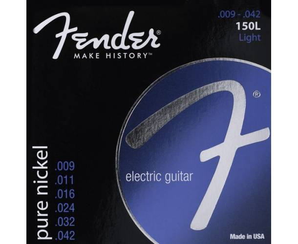 FENDER - Original 150 Guitar Strings Pure Nickel Wound Ball End 150L .009-.042 Gauges (6)