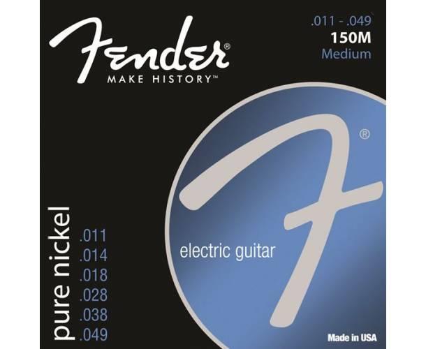 FENDER - Original 150 Guitar Strings Pure Nickel Wound Ball End 150M .011-.049 Gauges (6)