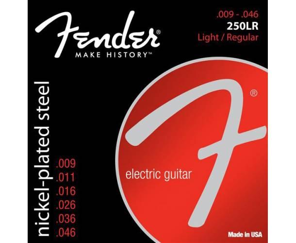 FENDER - Super 250 Guitar Strings Nickel Plated Steel Ball End 250LR Gauges .009-.046 (6)