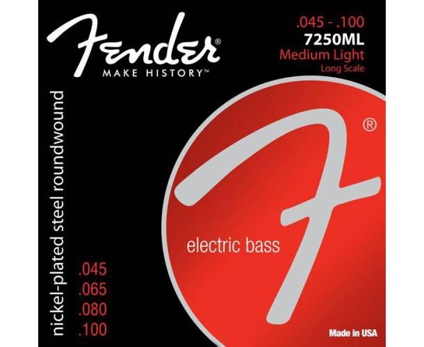 FENDER - 7250 Bass Strings Nickel Plated Steel Long Scale 7250ML .045-.100 Gauges (4)