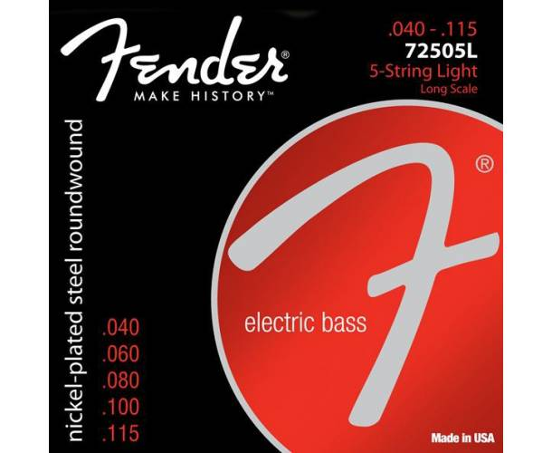 FENDER - 7250 Bass Strings Nickel Plated Steel Long Scale 7250-5L .040-.115 Gauges (5)