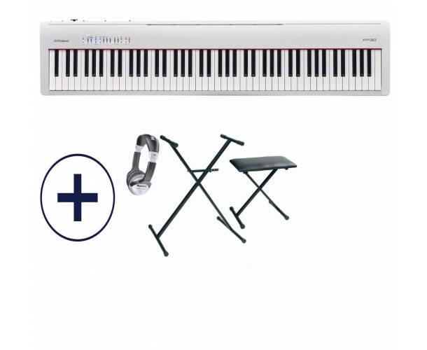 HURRICANE MUSIC PACK ROLAND - FP30 PIANO NUMERIQUE BLANC
