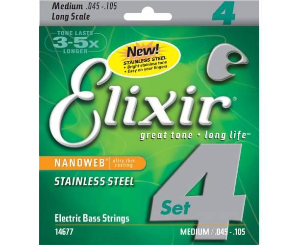 ELIXIR - NANOWEB BASS LONG SCALE STAINLESS STEEL MEDIUM 45-105